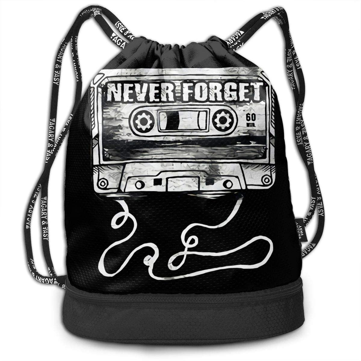 Never Forget Graphic Funny Multifunctional Travel Sports And Leisure Drawstring Backpack