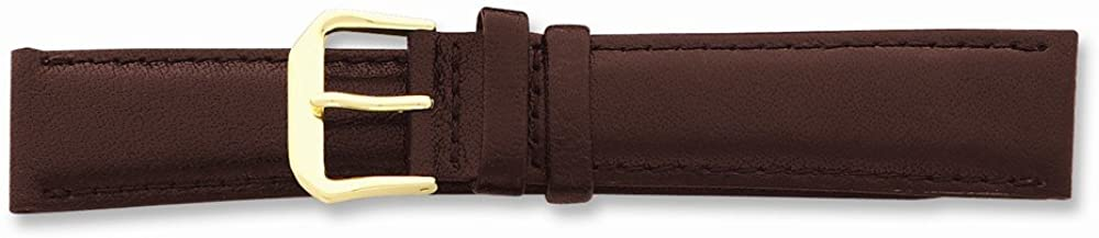 Sonia Jewels 10mm Brown Smooth Leather Gold-Tone Buckle Watch Band 6.75