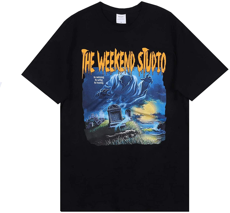 Men's Vintage Graphic T Shirt The Weekend Studio Print Rap Music Hip-Hop Summer Tee White Black