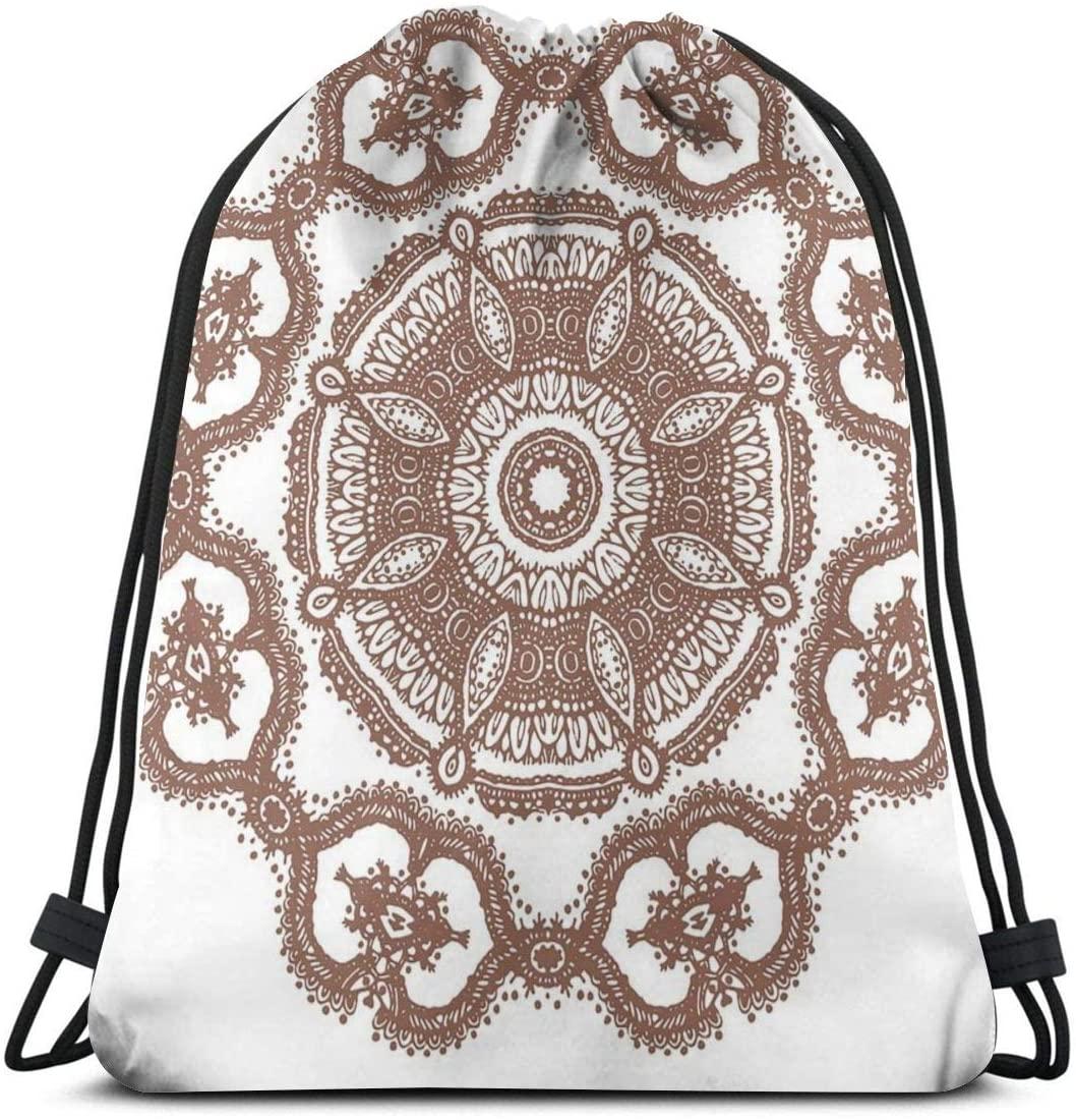 Backpack Drawstring Bags Cinch Sack String Bag Mandala Creative Texture Pattern Sackpack For Beach Sport Gym Travel Yoga Camping Shopping School Hiking Men Women