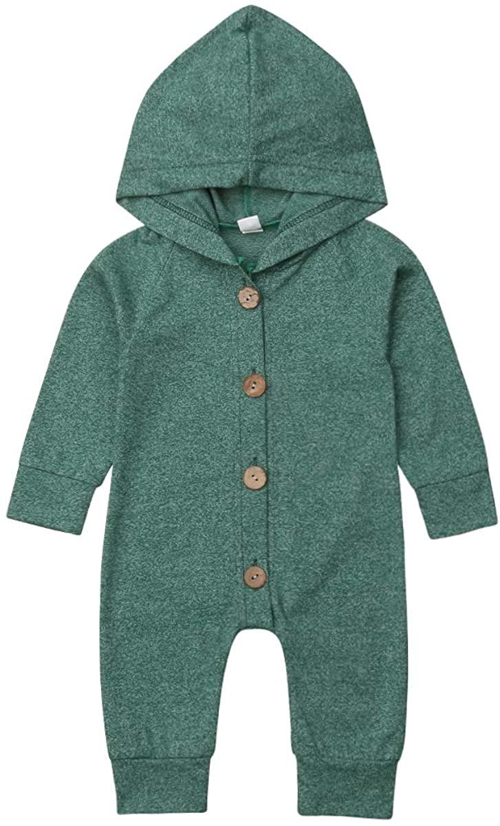 LXXIASHI Newborn Baby Hooded Cotton Button Jumpsuit Infant Autumn Romper Outfits Clothes