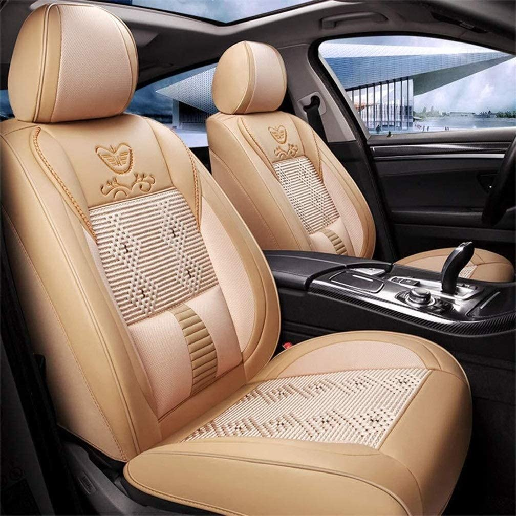 XZWYB Car Seat Covers Leather Full Set UniversalNew Summer Car Seat Cushion Four Seasons Universal Leather and Ice Silk Car Mat All-Inclusive Seat Cover (Size : Beige)