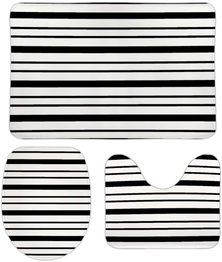 Black and White Thick and Thin Stripes 3 Piece Bathroom Rug Set Bath Mat, U Shaped Contour Mat, Lid Cover Non-Slip with Rubber Backing, Perfect Carpet Mats for Tub, Shower, Home Decor 16 x 24