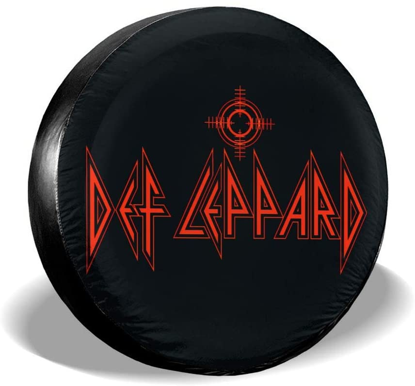 Zxhalkhfd Def Leppard Tire Cover Spare Tire Accessories, Trolley, Jeep SUV (14, 15, 16, 17 Inch) Universal Tire Cover