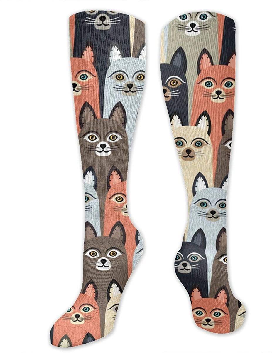 Colorful Kitten Athletic Socks Thigh Stockings Over Knee Leg High Socks