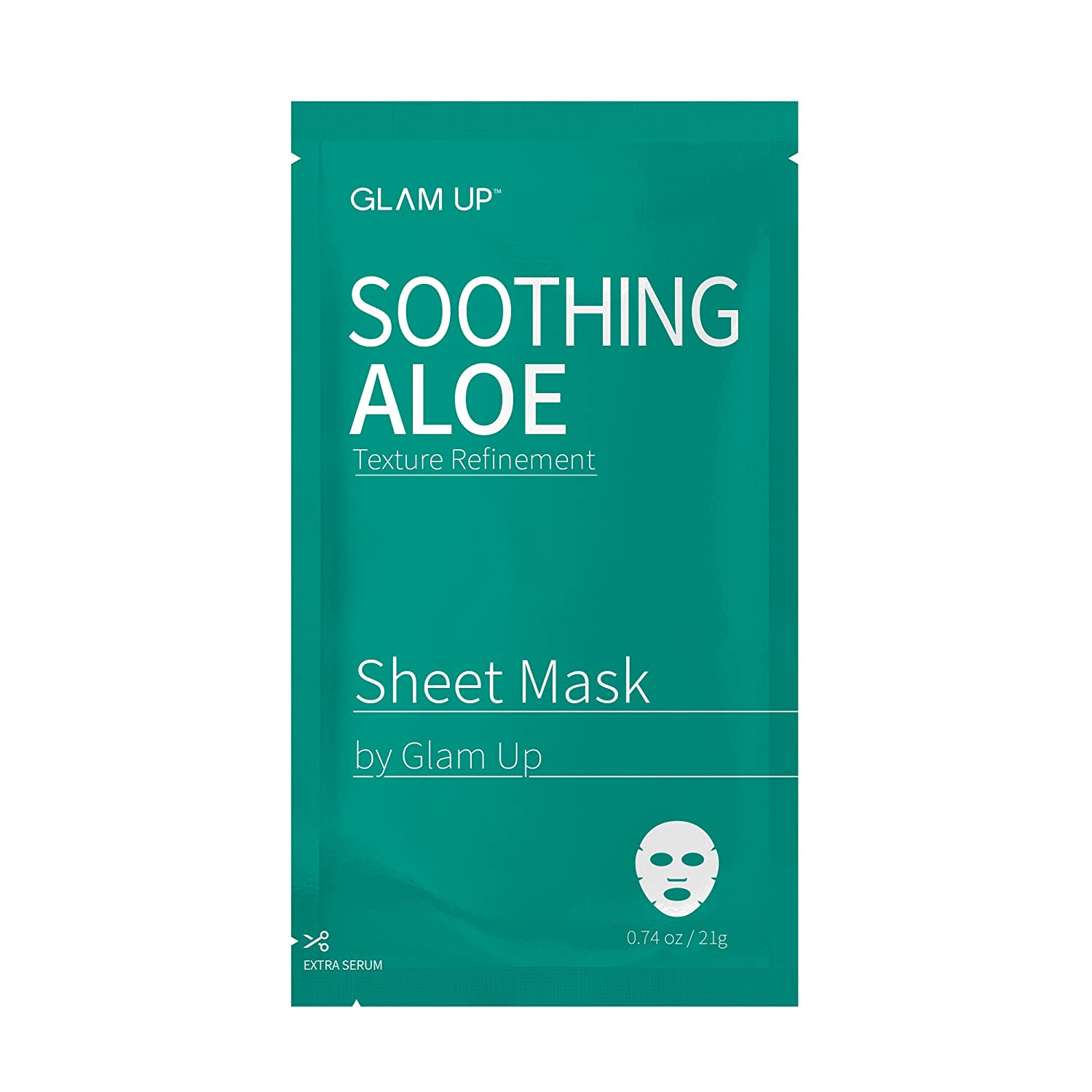 Sheet mask by glam up BTS Soothing Aloe - Replenishing, Soothing Damaged Skin Nature made Freshly packed Daily Skin Therapy Original K-Beauty Recipe 1ea