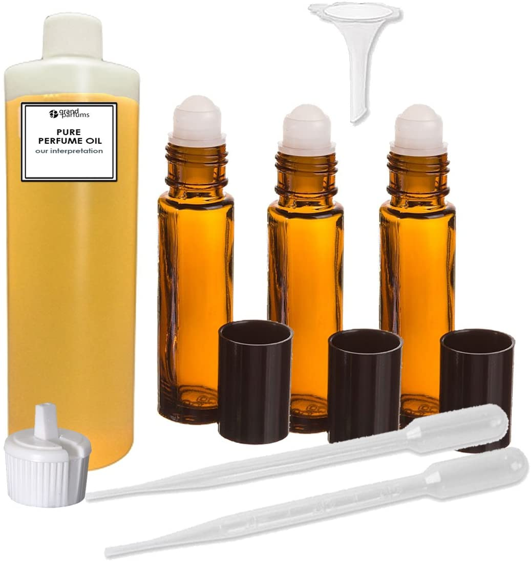 Grand Parfums Perfume Oil Set - Sexy Little Thing Body Oil for Women by Vs Secret Scented Fragrance Oil - Our Interpretation, with Roll On Bottles and Tools to Fill Them (4 Oz)