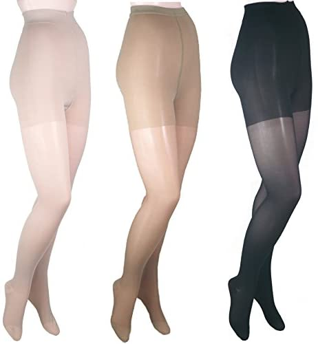 ITA-MED Sheer Pantyhose Compression H150, Mixed, Queen, 3 Count