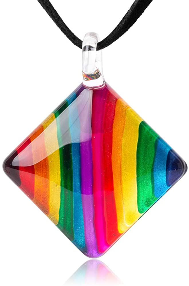 SUVANI Hand Blown Glass Multi-Colored Rainbow Striped Pendant Necklace or Dangle Earrings