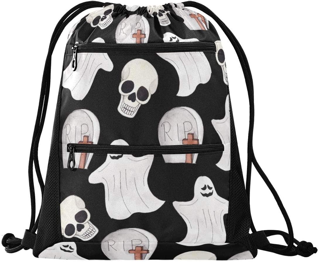 Halloween Drawstring Backpack Sport Gym Sackpack - Ghost Skull Happy Halloween Cinch Sport Bag Sport Backpack for Shopping