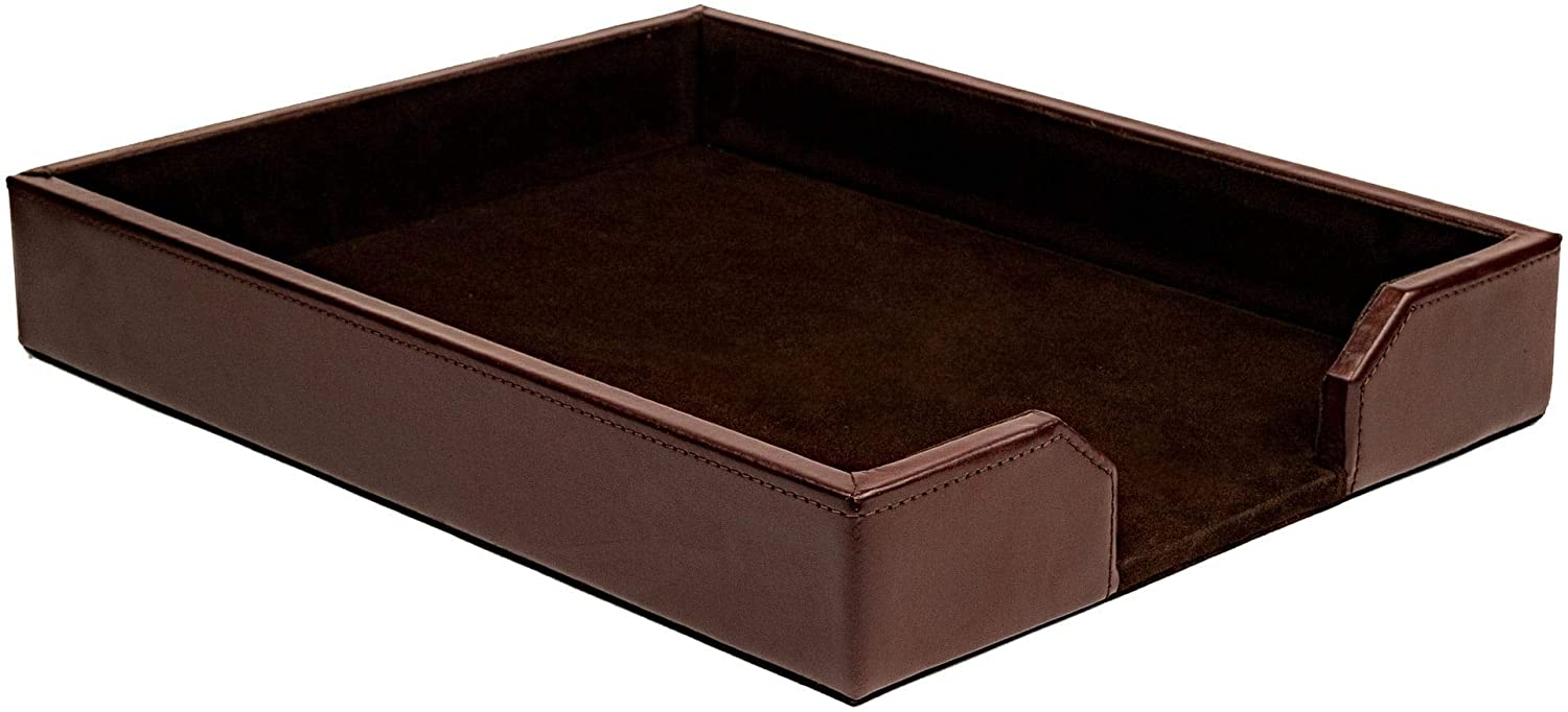 Dacasso Dark Brown Bonded Leather Letter Tray
