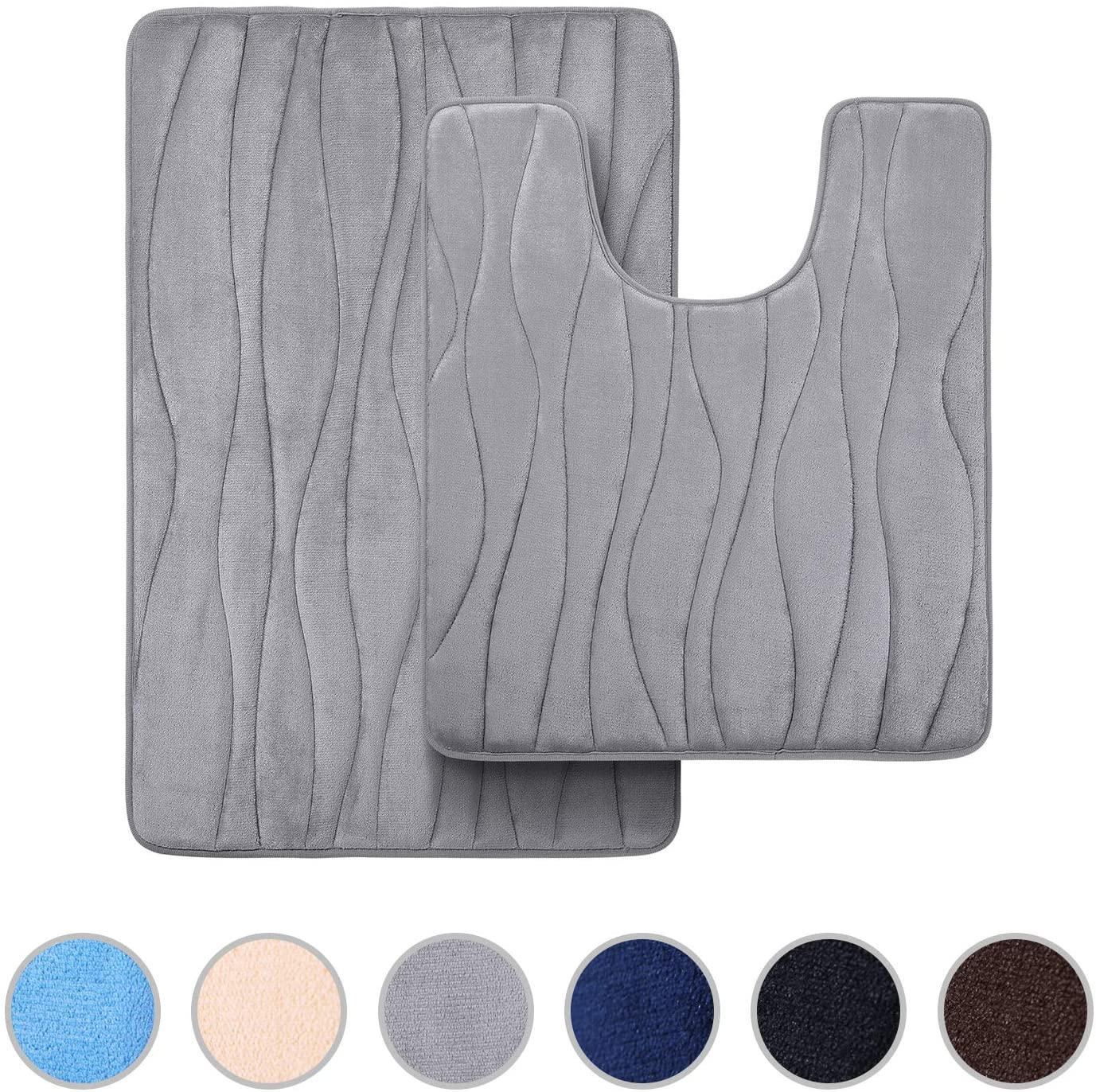 Buganda Memory Foam 2 Pieces Bath Rugs Set - Soft Non-Slip Thick Bath Mat and Contour Toilet Rug, Absorbent Washable Bathroom Rugs and Mats Set (20