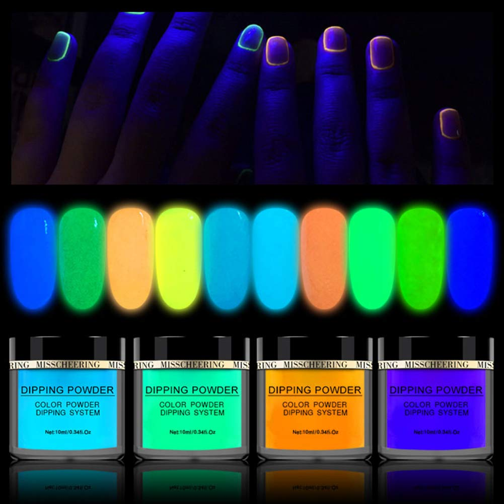 10 Colors Luminous Dipping Nail Powder Kit Fluorescent Effect Acrylic Glitter Nail Dipping Powder Without Lamp Cure Natural Dry Nail Art Decoration