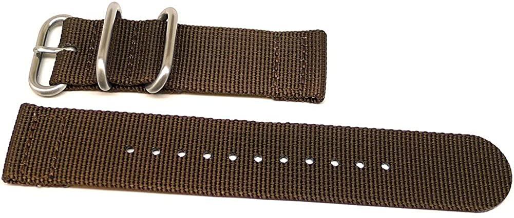 DaLuca Two Piece Ballistic Nylon Watch Strap - Brown : 18mm
