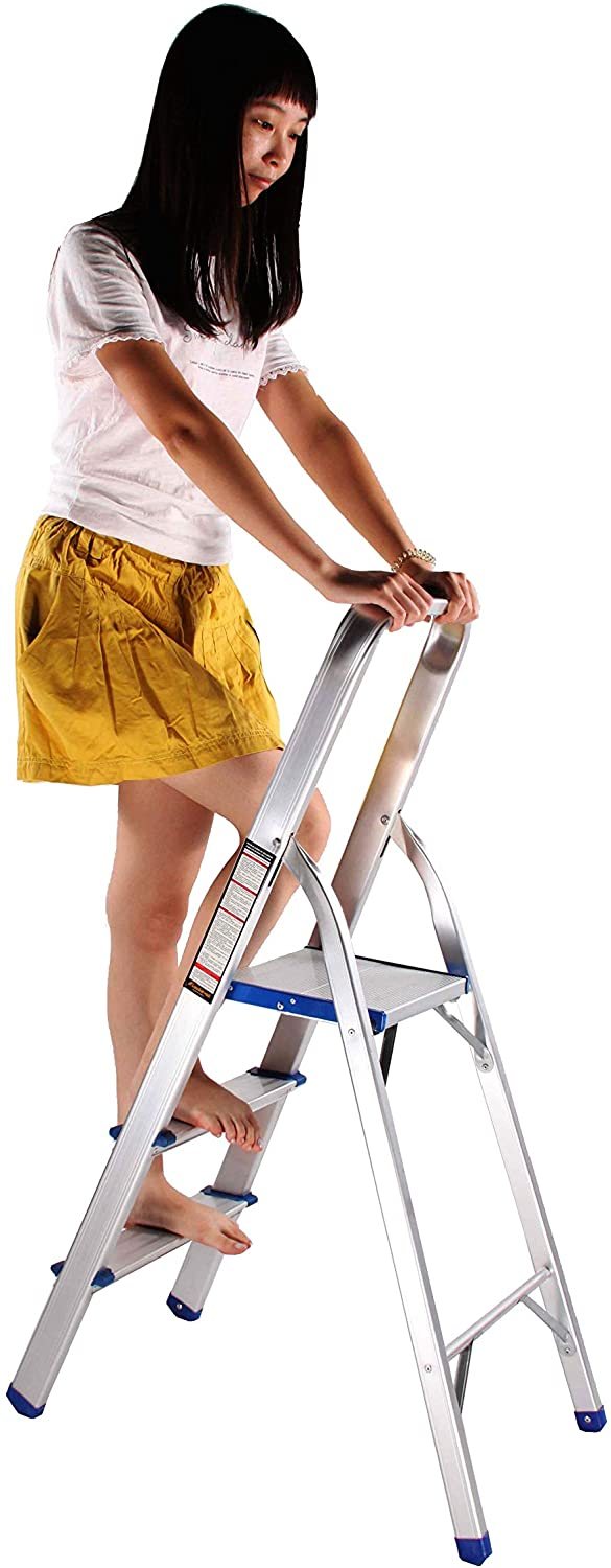FixtureDisplays Folding 3-Step Aluminium Alloy Ladder with Hand Grip and Aluminium Steps, 330-Pound Weight Capacity, Silver Finish 15601!