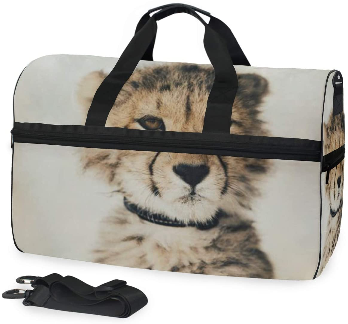 SLHFPX Baby Cheetah Gym Bag with Shoes Compartment Sports Swim Travel Overnight Duffels