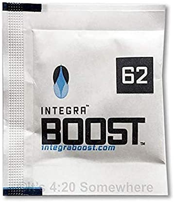 Integra Boost 62 Percent RH - 4 Gram, 2-Way Humidity Control, Small Humidor Packs - Free Reusable Smell Proof Bag (10 Pack)