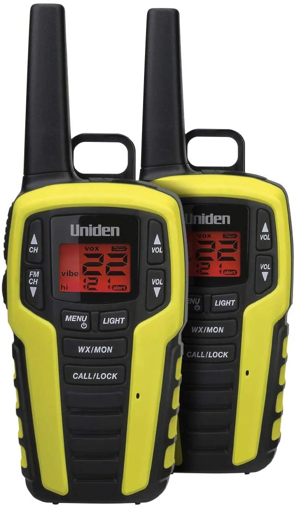 Uniden SX407-2CKFHS, Up to 40 Mile Range, Emergency Two-Way Radio Walkie Talkies, Built-in FM Radio, LED Flashlight & Strobe Light, NOAA Weather Alerts, Includes 2 Headsets & Dual Charging Cradle