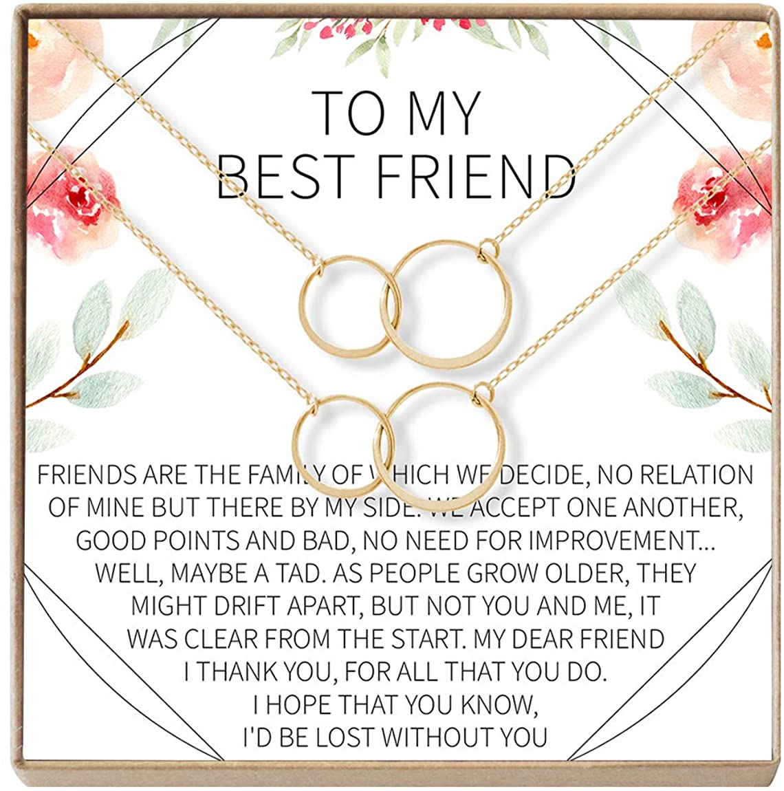 Best Friend Necklace - Heartfelt Card & Jewelry Gift for Birthday, Holiday & More