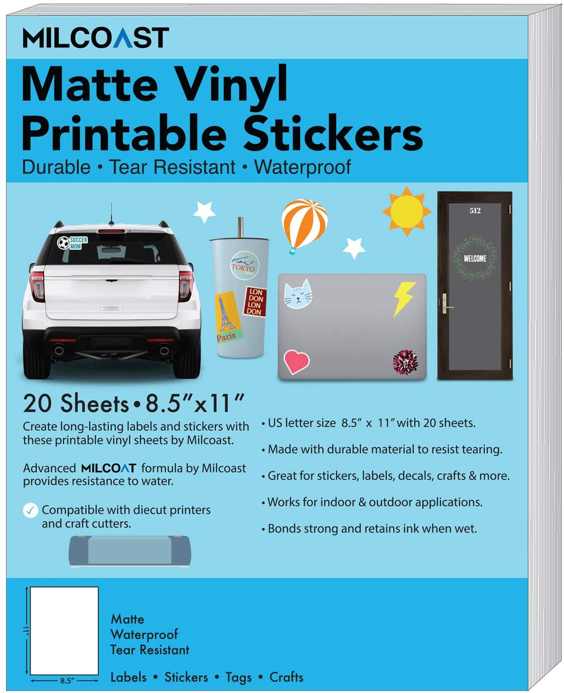 Milcoast Matte Waterproof Printable Vinyl Full Sheet Sticker Paper Labels - Adhesive, Inkjet/Laser Printer Compatible - for Arts, Crafts, Decals, Stickers, and More (20 Sheets)
