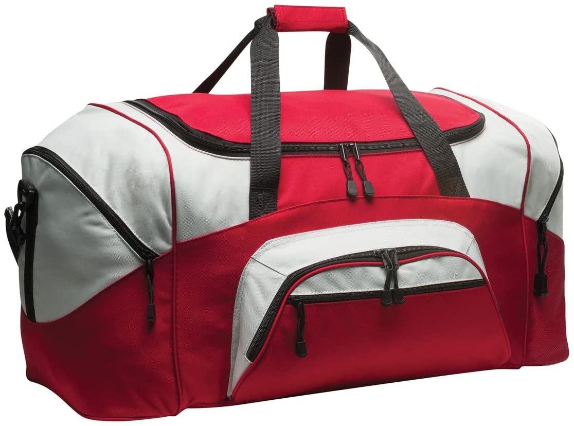 Port & Company BG99 Colorblock Sport Duffel - Red/Grey - OSFA