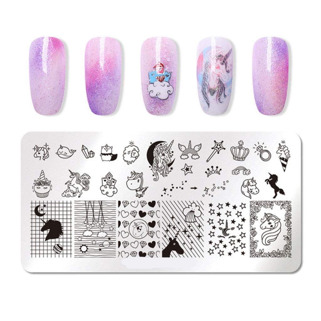 Nail Art Stamp Stamping Template Image Plates for 1Pcs Transfertravel And Home Stamper, Shining Design Pattern for Women Kits,M
