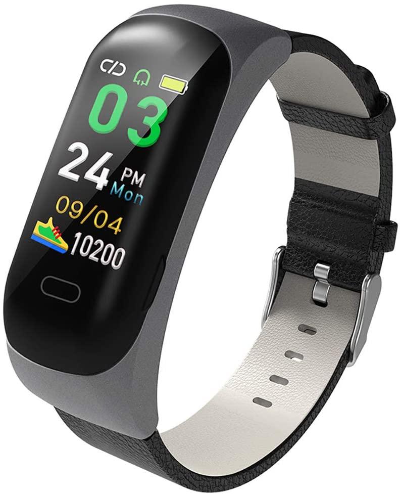MIJNUX Fashion C15 Smart Bracelet Waterproof Bluetooth Headset Combo Heart Rate Blood Pressure Pedometer Smart Watch,B