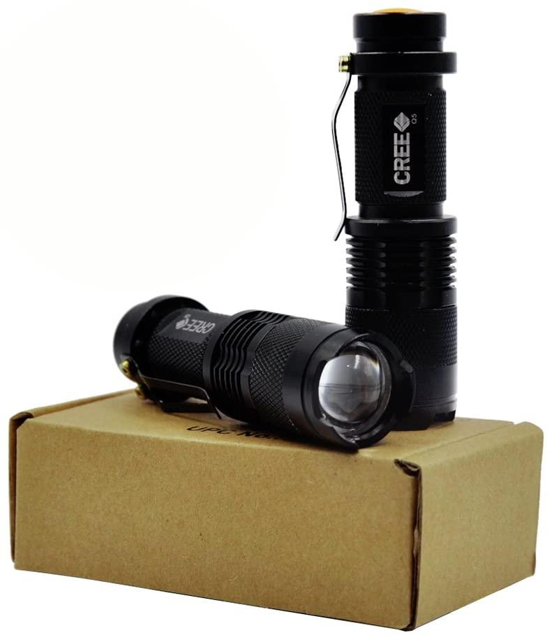 ANKEY 7W 300 Lumin CREE LED Mini Flashlight Torch 3 mode Adjustable Focus Zoom Light Lamp-Black (2 Packs of SK68)