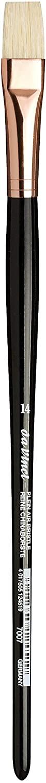 da Vinci Hog Bristle Series 7007 Plein Air Oil Painting Brush, Flat Short with Black Lacquered Handle and Copper Ferrule, Size 14 (7007-14)