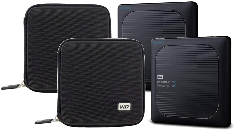 2 WD 4TB My Passport Wireless Pro USB 3.0 External Hard Drives + 2 Compact Hard Drive Cases