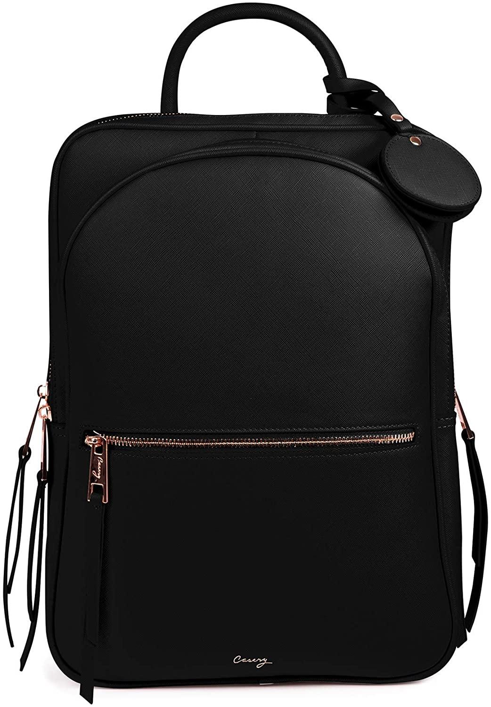 Casery Paris Laptop Backpack (Black) - RFID Blocking Lining - Luggage Sleeve - Premium Vegan Leather - Daily Travel, Work, School