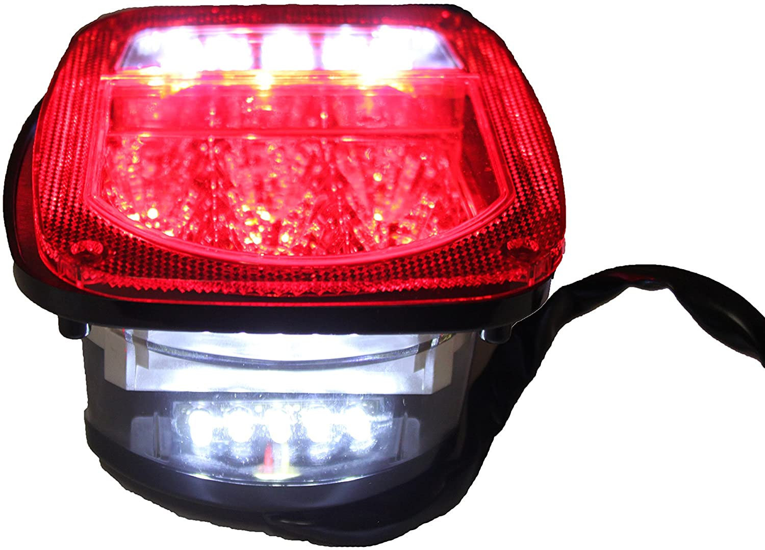 One Bright Red TJ CJ YJ JK Replacement Stop Brake Turn Tail Light w/LED Illuminator on Left Truck/Trailer/Boat