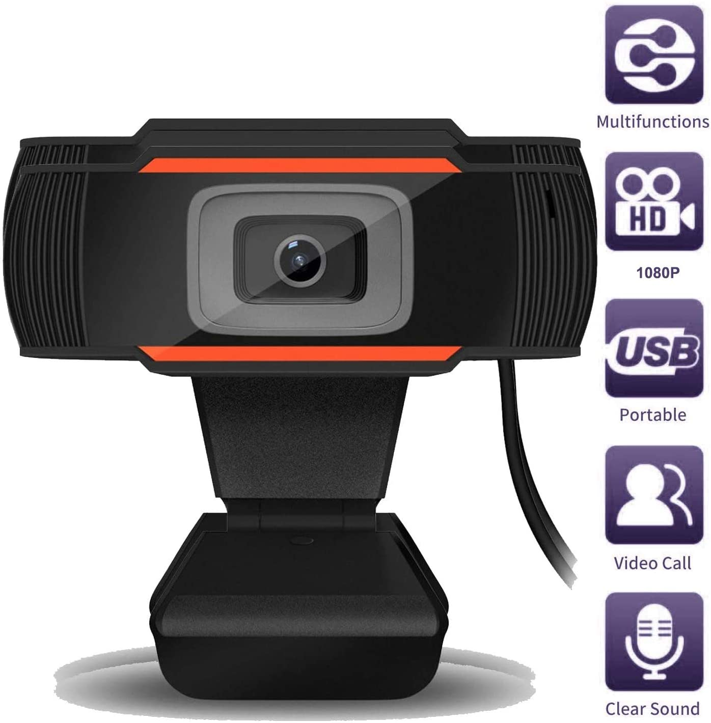 HD 1080P Webcam, 5 Megapixel Streaming Web Camera with Noise Reduction Microphone, Widescreen USB Computer Camera or Streaming Gaming Conferencing PC Laptop Desktop