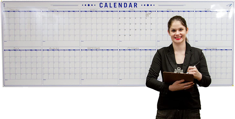 Jumbo 36 x 96 inch Blank Yearly Wall Calendar - Big Laminated Calendar Poster - 12 Month Planner - Erasable - Reusable - Giant Wet Erase Calendar - Annual Planning - Large Dry Erase Calendar