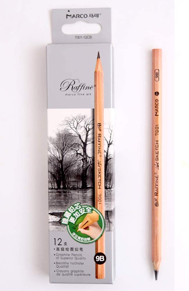 Sketch Pencil Log Pencil Drawing Pencil Art Pencils Sketch Travel Precision Graphite Pencils For Adults 12 Piece (9B)