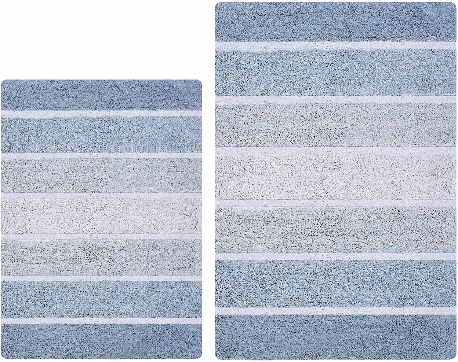 Quilted Stripe Luxury Bath Rug Set of 2, Mat Set, Soft Plush Anti-Skid Shower Rug/Toilet Mat.Quilted Rugs, Super Absorbent mats, Machine Washable Bath Mat,Size 21x32-17x24 Blue/White