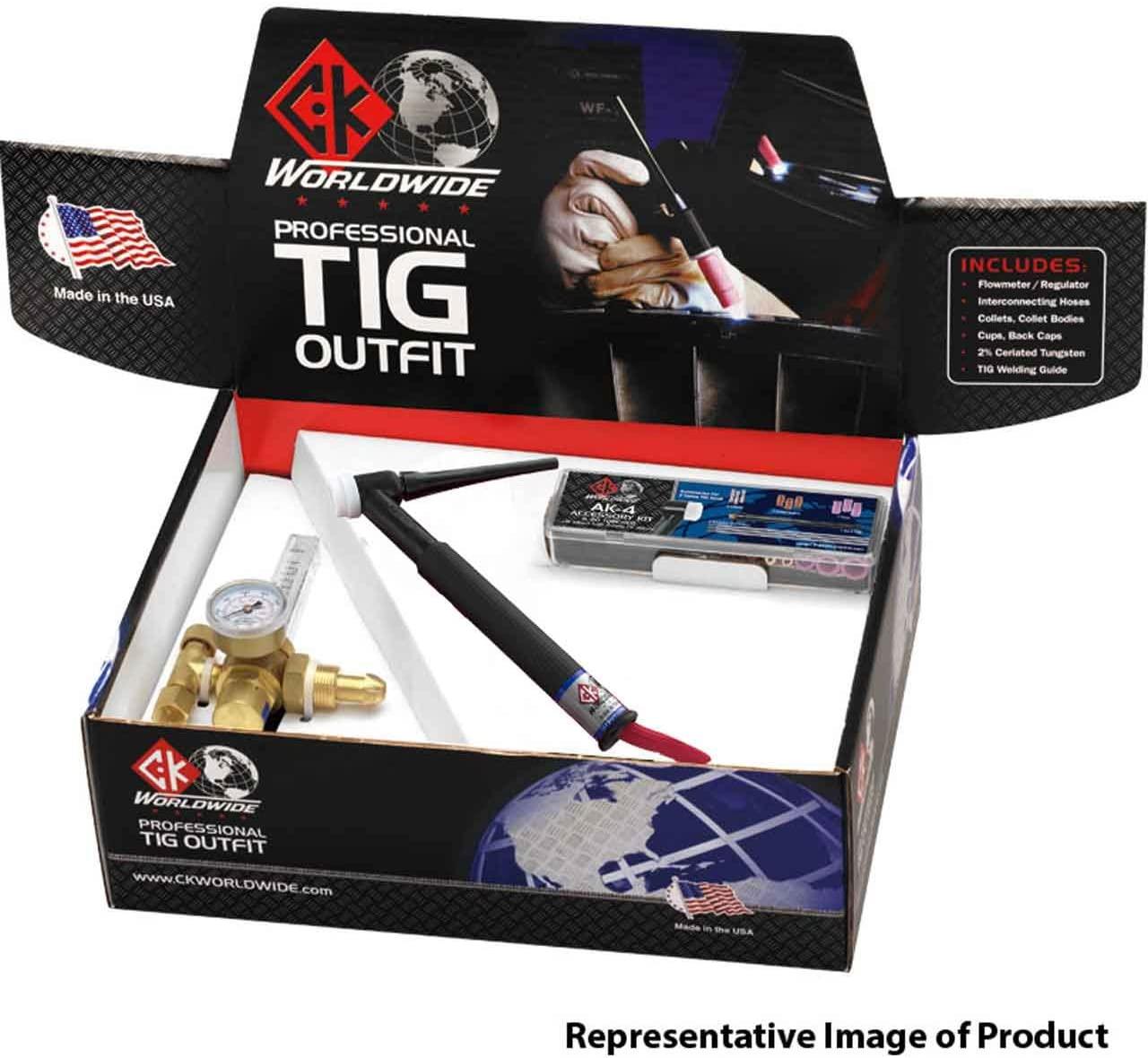 CK Professional TIG Outfit CK26 TIG Torch, 200A, Valve, 12.5', 2-Pc, PTO26V-12-2 RG