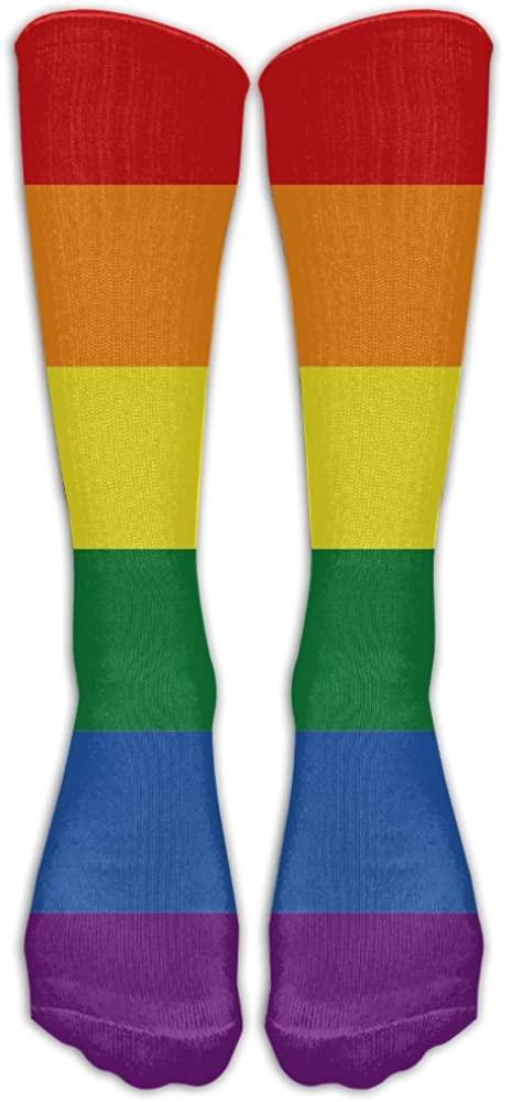 Gay Pride Flag Rainbow Printed Stockings Long Tube Socks, Great Quality Classics Knee High Socks Sports Socks For Women Teens Girls