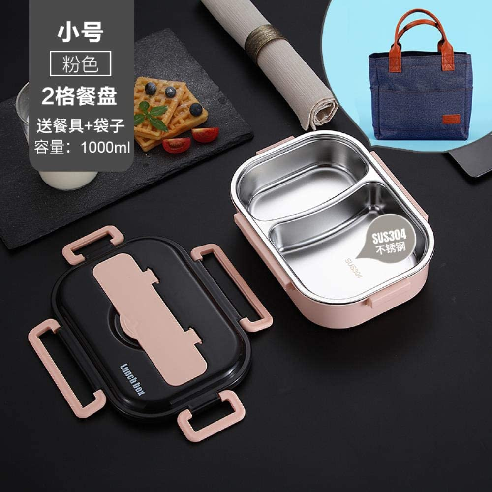 Stainless steel compartment insulated lunch box, office worker lunch box portable separation microwave heating lunch box, pink trumpet [2 grid + send tableware + bag]
