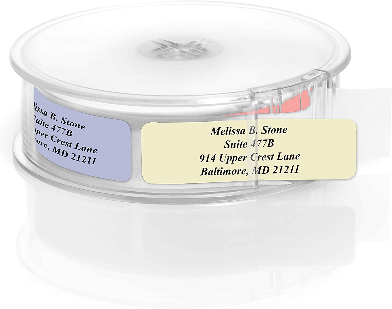 Assorted Stonewashed Designer Rolled Address Labels with Elegant Plastic Dispenser