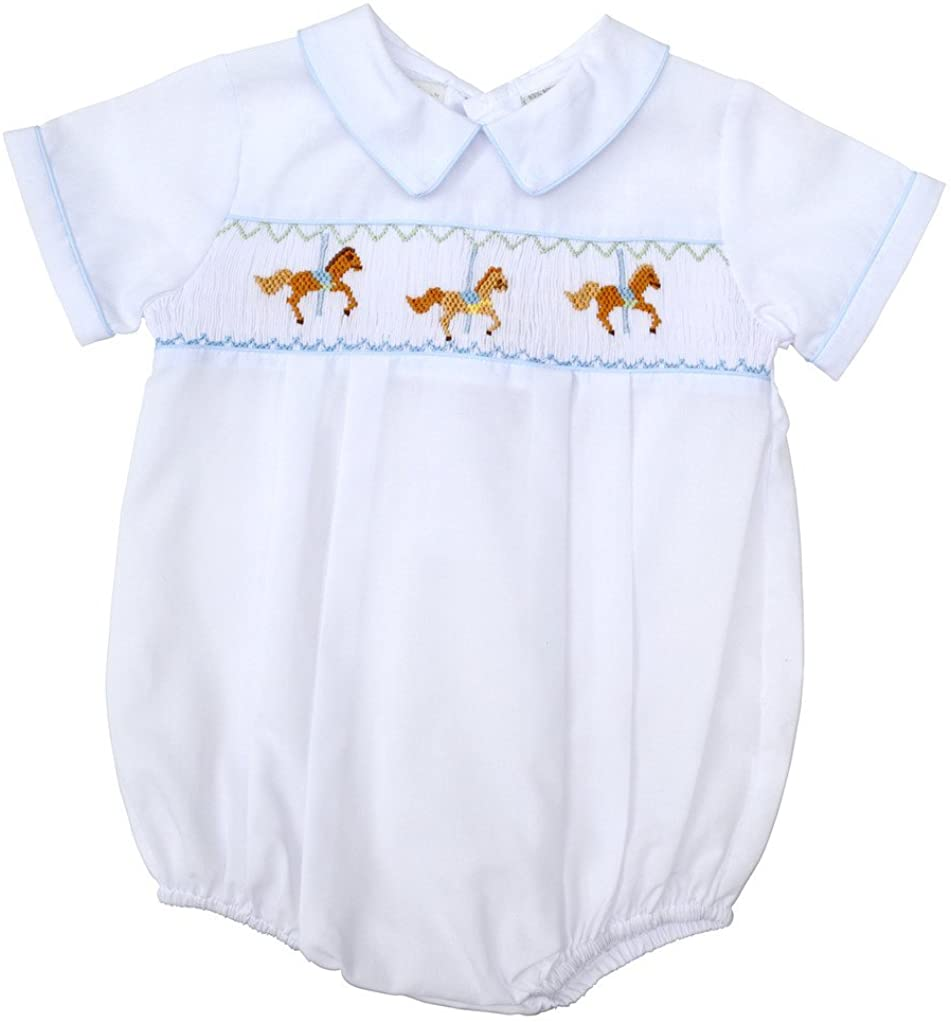 Carriage Boutique Baby Boys Hand Smocked Classic Creeper - White Carousel, 6M