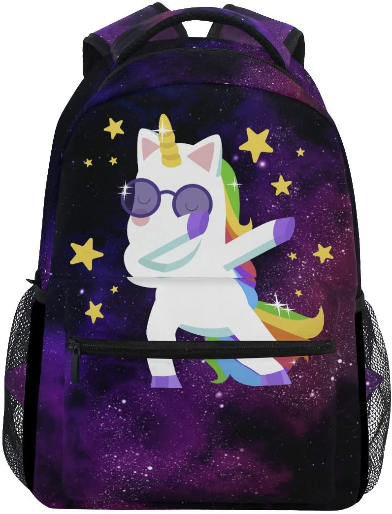 MOYYO Magic Unicorn School Backpack College Book Bag Casual Water Resistant Lightweight Daypack for Travel with Bottle Side Pockets