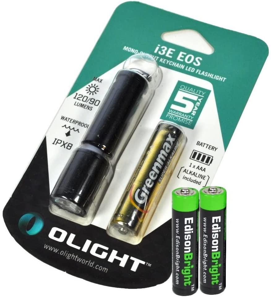 Olight I3E 90 Lumen Phillips Luxeon LED Flashlight (Black Body) with 2 X EdisonBright AAA batteries