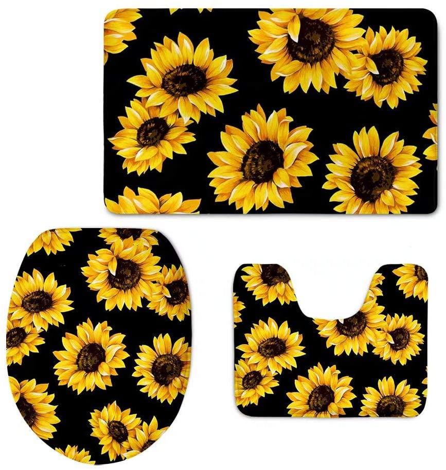 FOR U DESIGNS 3 Piece Bath Mat Set Sunflowers Printed Non-Slip Bathroom Mats Contour Toilet Cover Rug