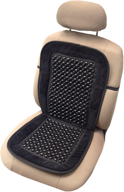 Unique Imports Black Bead Seat Cushion Premium Velour Padding Natural Wooden Massage