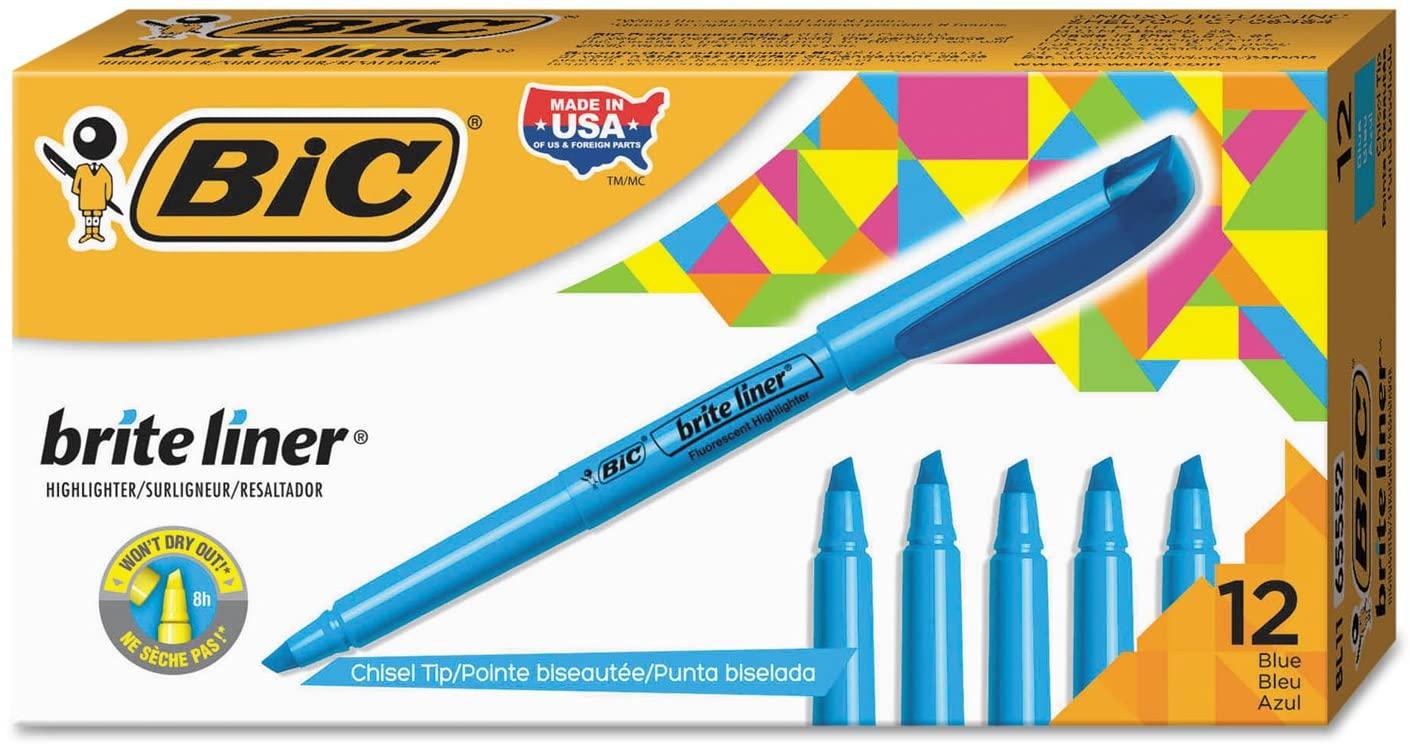 Bic Corp. Brite Liner Highlighter, Chisel Tip, Fluorescent Blue Ink, 12 Per Pack