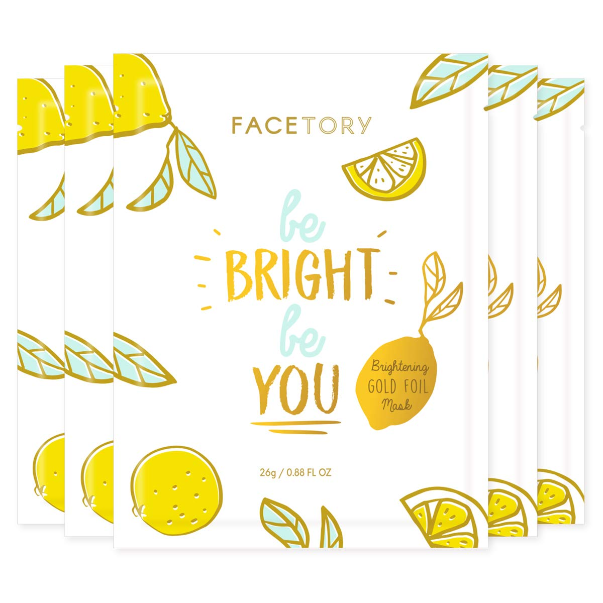 FaceTory Be Bright Be You Vitamin C Brightening Foil Mask - Moisturizing, Revitalizing, and Brightening (Pack of 5)