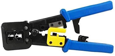 HLZS-Networking Tools EZ RJ45 Crimper Cable Stripper RJ12 Cat5 Cat6 Pressing Clamp Pliers Tongs Clip Clipper Multifunction Kit