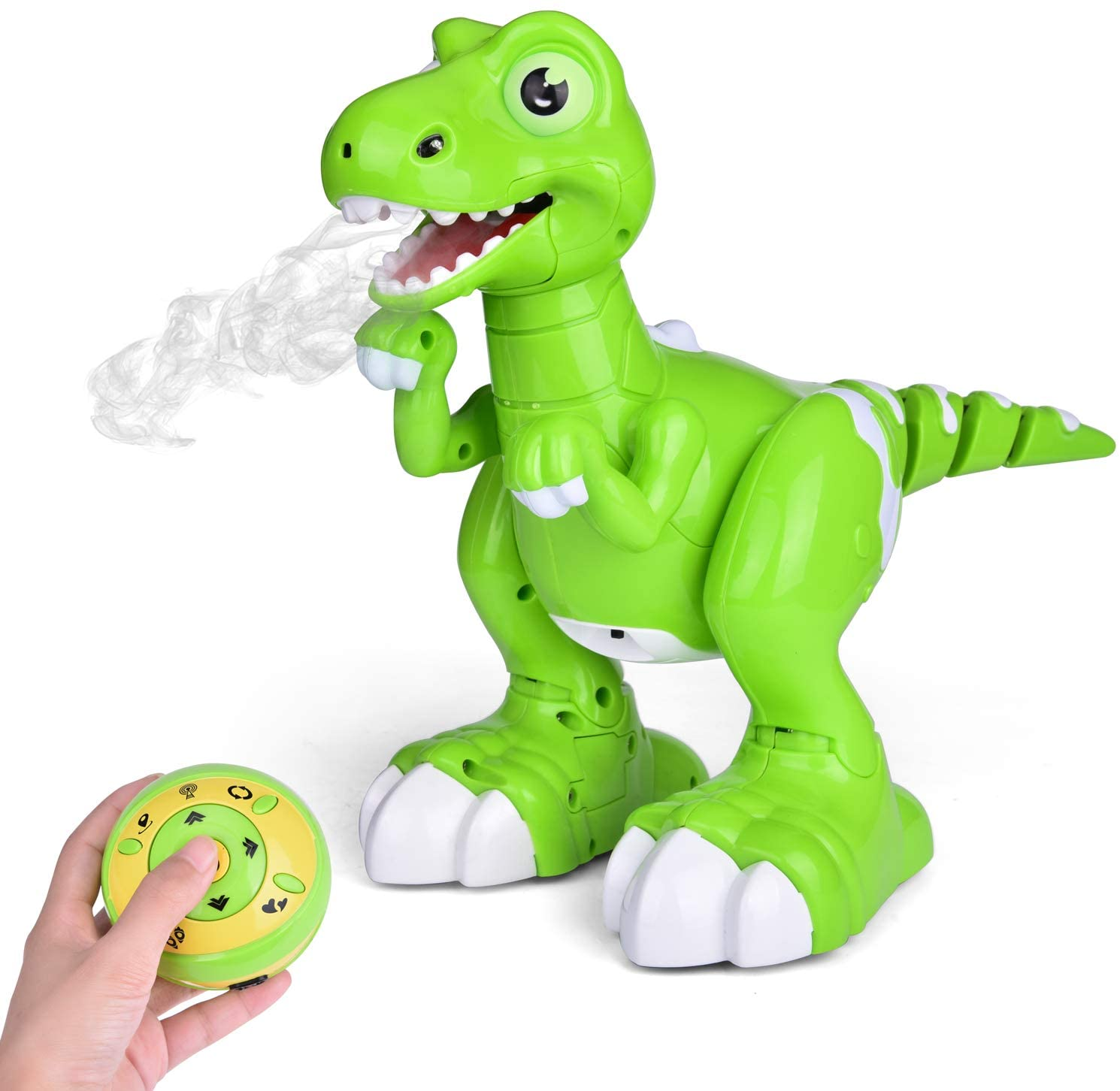 FUN LITTLE TOYS Remote Control Dinosaur Toy, Electronic Dinosaur for Kids, with Glowing Eyes, Walking, Dancing, Turning Around and Spraying Mist, Robot Dinosaur for Boys and Girls