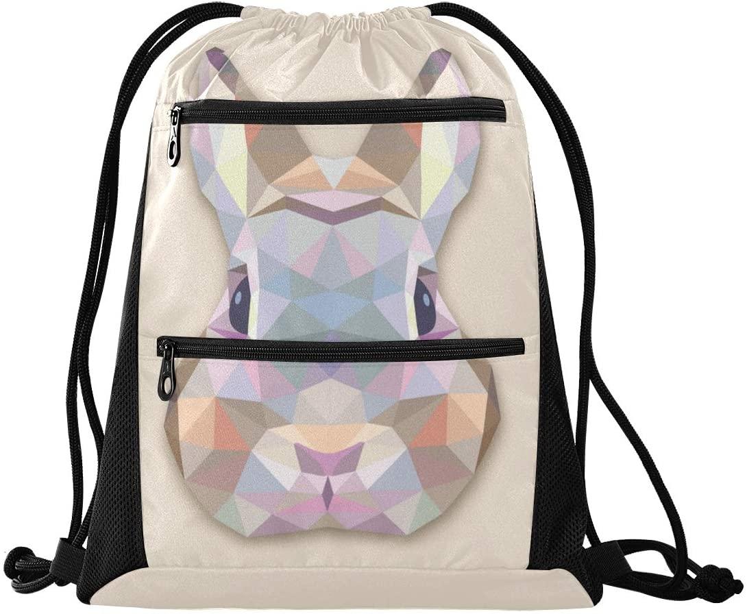 Drawstring Bag Geometric Rabbit Lightweight Yoga Sackpack for Travel Beach Yoga Gym Hiking Swimming with Zipper Mesh Pockets